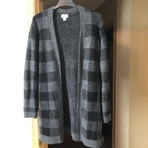 Gray and Black Plaid Open Cardigan
